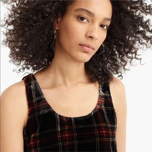 J. Crew Velvet Plaid Tank Top